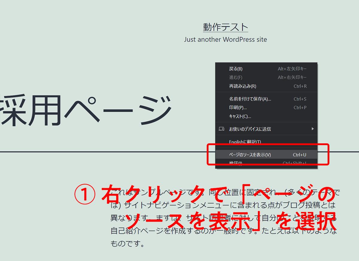 右クリック → ソースコードを表示